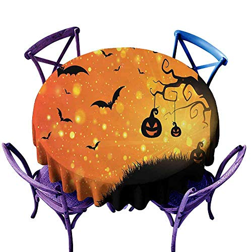 AndyTours Round Solid Polyester Tablecloth,Halloween,Magical Fantastic Evil Night Icons Swirled Branches Haunted Forest Hill,Party Decorations Table Cover Cloth,43 INCH Orange Yellow Black]()