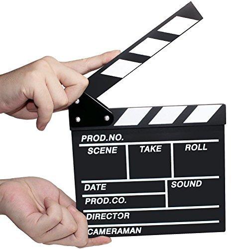 Losuya Wooden Clapboard Director Film Movie Cut Action Sign Props Scene Slateboard Clapper Board Slate, 7.8''x8''/20cm x 21cm