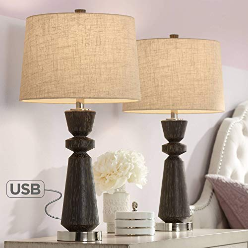 Albert Modern Table Lamps Set of 2 with USB Charging Port Natural Wood Grain Oatmeal Drum Shade for Living Room Bedroom Bedside Nightstand Office Family – Regency Hill