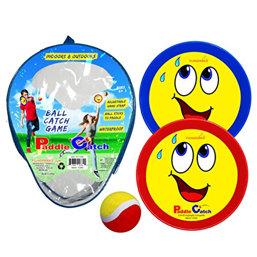 Catch Ball Set - Funsparks Paddle Catch Game - Ball Toss Toy with 2 Adjustable Disc's and 1 Ball