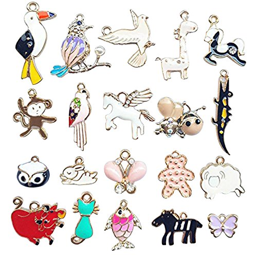 Bracelet Animal Charm - Dandan DIY Assorted of Animals Alloy Charm Pendant Jewelry Making Bee Fish Cat Owl Horse Peacebird Butterfly Monkey (Lovely Animal)