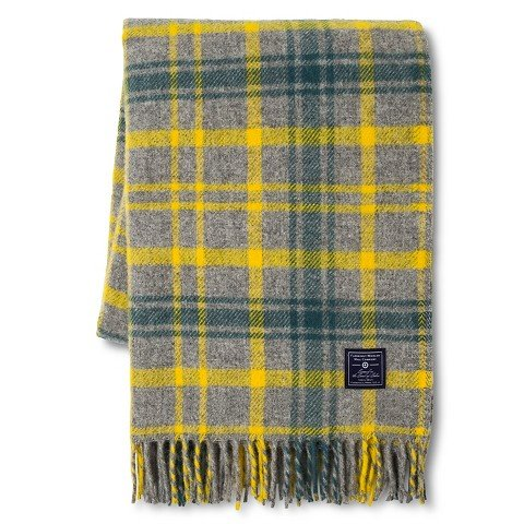 - Faribault Woolen Mill Company Plaid Wool Throw - Heather Grey/Yellow