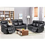 FDW Set 3 PCS Motion Loveseat PU Leather Sofa Couch Manual Reclining Chair3 Seater for Living Room, Style1, Black
