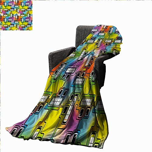 Anyangeight Colorful Digital Printing Blanket Hippie Digital Fun Characters with Eyes and Teeth Video Games Artwork Pattern,Super Soft and Comfortable,Suitable for -