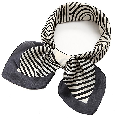 Silk Like Scarf Square Satin Hair Scarf Fashion Stripe Neck Scarfs for Women Blue 27'' x 27''
