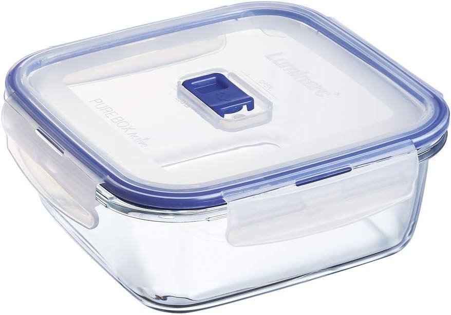 Luminarc HERMETICO CUAD 122CL Pure Box Active Lum, Transparente y Azul, 1.22 L