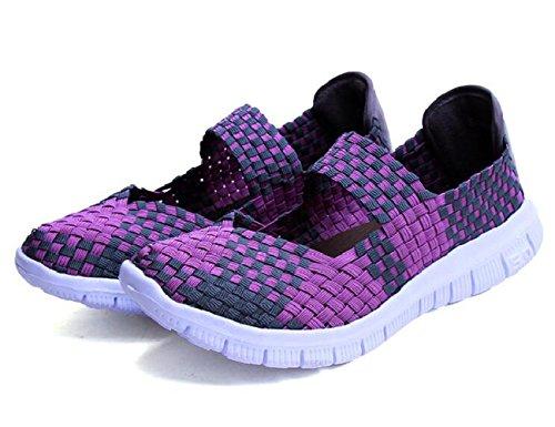 MAKEGSI Handmade Women running shoes Walk Women's Slipon Woven Stretch Mesh (10, purple)