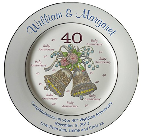 Heritage Pottery Personalized Bone China Commemorative Plate for A 40th Wedding Anniversary - Wedding Bells DesignWith 2 Silver Bands