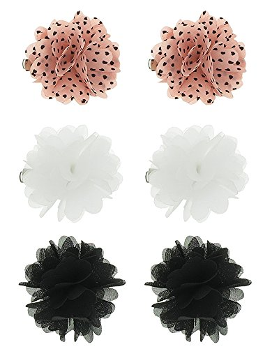 Capelli New York 6 Pack Pelican Clips: 2 Heart Print Flowers, 4 Solid Flower Peach One Size Capelli Heart