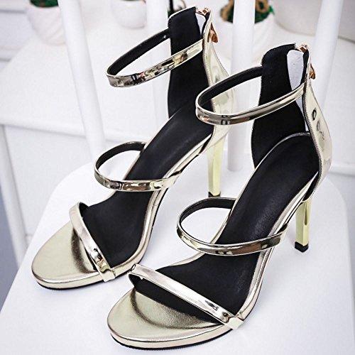 COOLCEPT Mujer Moda Al Tobillo Sandalias Punta Abierta Tacon de Aguja Zapatos With Cremallera Oro