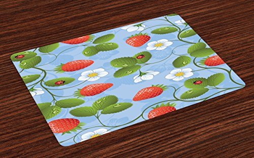 Ladybugs Place Mats Set of 4 by Ambesonne, Strawberries Daisies and Ladybugs Looks Like Ivy Plant Spotted Insects Image, Washable Placemats for Dining Room Kitchen Table Decoration, Blue Green - Green Red Placemat