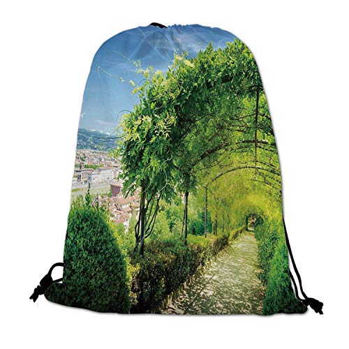 (Italian Decor Lightweight Drawstring Bag,Boboli Gardens in Florence Italy Famous Natural Landmark Tourist Attraction for Travel Shopping,One_Size)