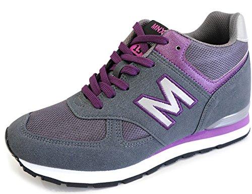 MNX15 Women's Elevator Shoes Height Increase 3.5″ RAY PURPLE (5.5 D(M)US / 225mm(KOR), Purple)