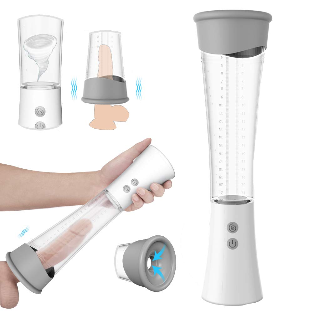 High-Vacuum Pump Enlargement Device with 3 Power Suctions and 9 Different Vibrations Massager ED Pump