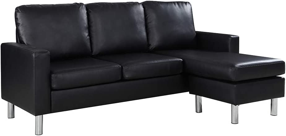 Casa Andrea Milano LLC Modern Sectional Sofa - Small Space Reversible Configurable Couch, Black Leather