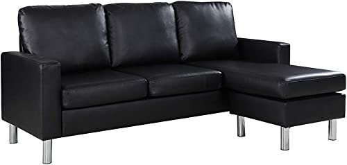 Reversible Sectional Sofa, Convertible L-Shape Couch in Bonded Leather Upholstery for Small Space Black