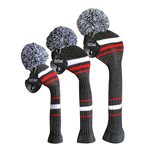 Scott Edward Golf Head Covers Grey White Red Stripes Style 3PCS/pack for Driver(460cc), Fairway Wood&Hybrid (Cover 5 Wood)