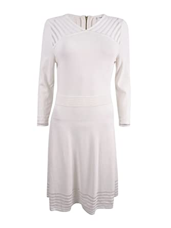 b8d4153ae8d Calvin Klein Women s Illusion-Stripe Fit   Flare Sweater Dress at ...