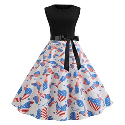 Women's Vintage Evening Party Prom Swing Dress American Flag Print Sleeveless Dresses Blue Maoyou