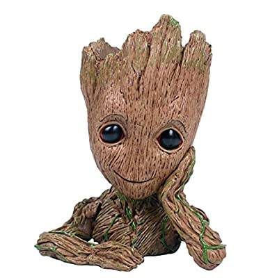 PERTTY Baby Groot Flowerpot,Baby Groot Planter Cute Model Toy Pen Pot Best Gifts for Children (14.5cm x 10 x 11.7 cm)