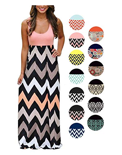 LIYOHON Women's Summer Chevron Striped Print Dress Tank