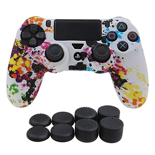 (YoRHa Water Transfer Printing Camouflage Silicone Cover Skin Case for Sony PS4/slim/Pro Dualshock 4 controller x 1(graffiti) With Pro thumb grips x 8)