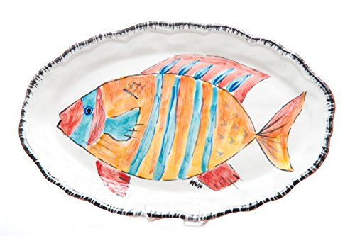 Abigails Napoli Stripped Fish Platter, 17 by 10.5 by 1.5-Inch