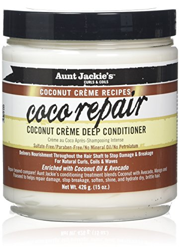 Aunt Jackie's Coconut Crème Recipes Coco Repair, Coconut Crème Deep Conditioner, Repair and Restores Damaged Hair, 15 Ounce Jar (Best Deep Conditioners For Natural Hair Black Hair)