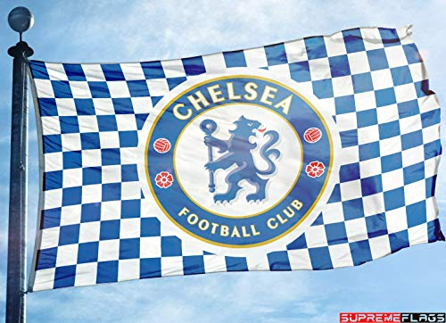 (Chelsea Flag Banner 3x5 ft Blues Chekers England Premier Football Soccer)