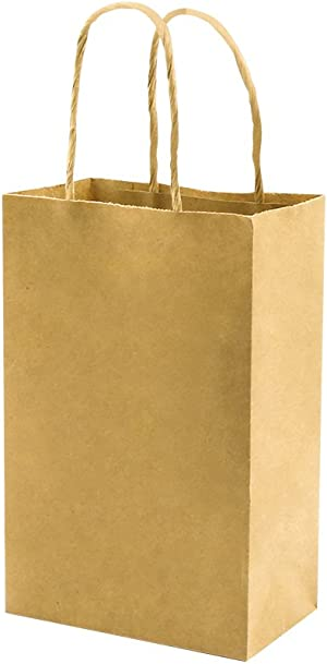 Small Sturdy 5.25x3.25x8 inch 50 Pack Paper Bags with Handles Bulk, Bagmad Brown Kraft Bags, Gift Party Favor Grocery Retail Strong Shopping Craft Cub Sacks Restaurant Takeouts (Thicken 50Pcs)
