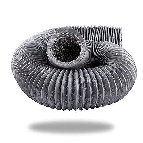 Hon&Guan Tubo de Manguera de Ventilació n Tubo Aire Flexible di Aluminio & PVC para Extractor de Aire , Climatizació n , Secadora (ø 125mm*10m, blanco) Climatización Secadora (ø125mm*10m