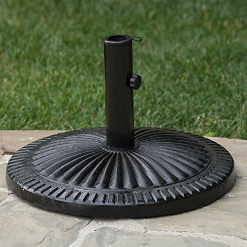Seymour Patio Furniture ~ Outdoor Black Resin and Steel Umbrella Base by GDF Studio