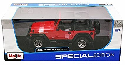 5c5d0517d43 Image Unavailable. Image not available for. Color: Jeep Wrangler Rubicon,  Red - Maisto 31663 - 1/18 Scale Diecast Model Toy