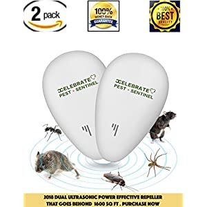 Pest Control Ultrasonic Repeller - Spider Repellent with Night Light - Electronic Pest Control Plug in Pest Repellent to Repel Insects, Mice, Spider, Ant, Roaches, Mosquitoes, Bugs, Flies, Fleas