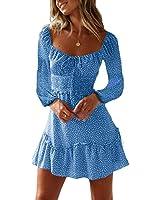 Yobecho Womens Summer Ruffle Sleeve Sweetheart Neckline Printing Dress Mini Dress (Medium, L-Blue)