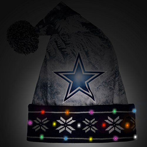 6cf824457 NFL Dallas Cowboys Light Up Printed Santa Hat, One Size, Blue