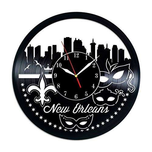 New Orleans Vinyl Record Wall Clock - Original HANDMADE -
