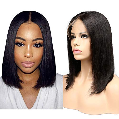 LiyaHair BoB Lace Front Wigs Synthetic Yaki Straight Hair Soft Fiber Hair Glueless Middle Part Wig Looks Like Human Hair Wigs for Black Women (Jet Black) (14 inch)