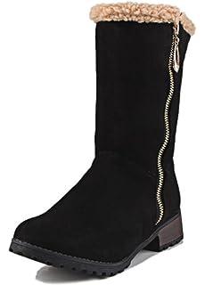 Women's Warm Low Chunky Heels Side Zip Up Fleece Lined Mid Calf Snow Boots Motor Booties