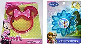 1 Disney Minnie Mouse & 1 Frozen Sandwich Crust Cutter Set Bundle Pack