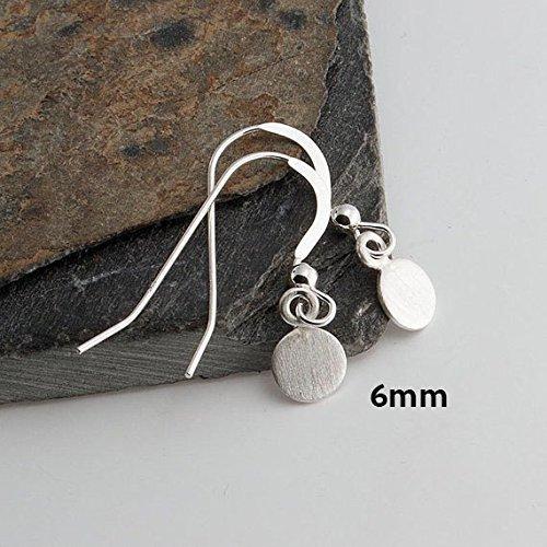 6mm Drop Earrings, Matte Silver Earrings, Tiny Earrings, Modern Jewelry, Round Disc Earrings, Minimalist Earrings, Handmade ()