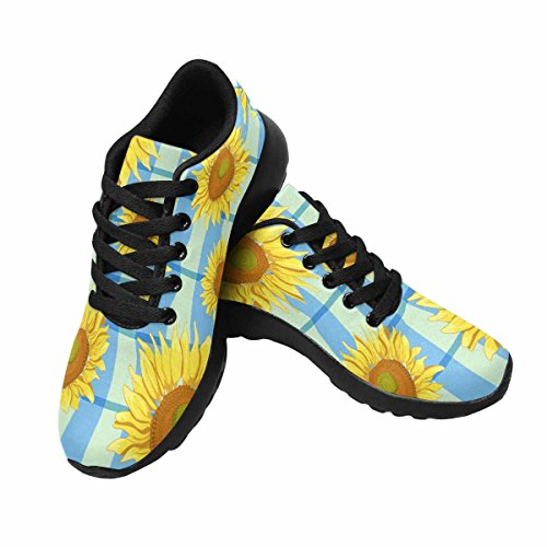 Interestprint Mujeres Jogging Running Sneaker Ligero Go Easy Walking Comodidad Deportes Zapatos Atléticos Girasoles Florales Multi 1