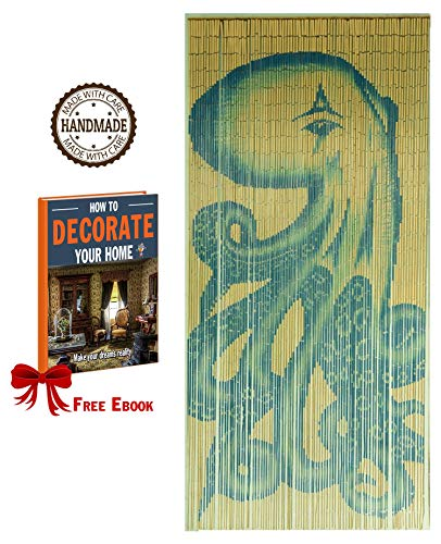 Tachilc Bamboo Door Bead Curtain Wall Art Window Treatment Room Divider - Octopus