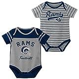 NFL Los Angeles Rams Unisex Newborn & Infant''Dual-Action'' 2Piece Bodysuit Set, Cool Grey, 0-3 Months