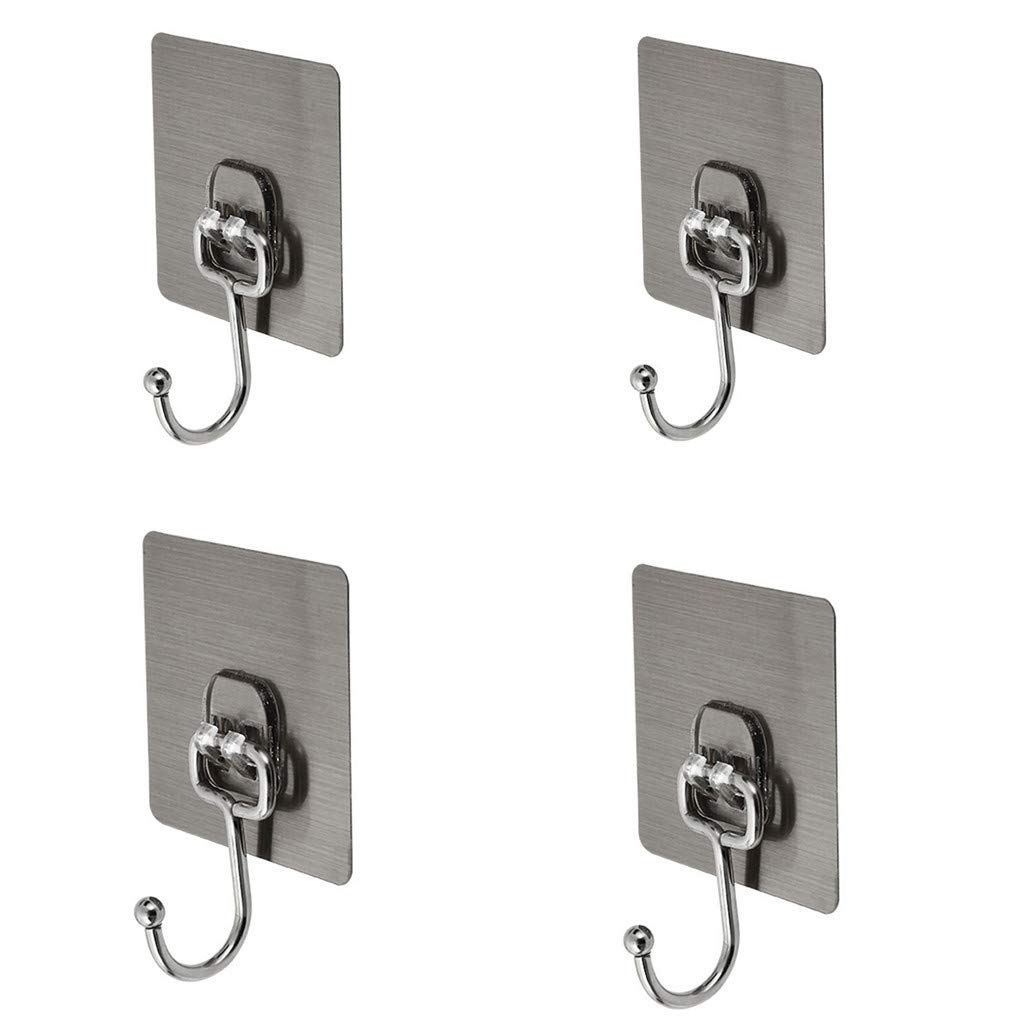 Sikye 4Pcs Hook Hanger,Stainless Steel Self Adhesive Holder Hook Hanger for Bathroom Home Kitchen Wall Door,Waterproof