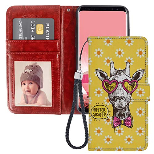 Wallet Case Fits for Samsung Galaxy S8 (2017) [5.8-Inch] Hipster Giraffe ()