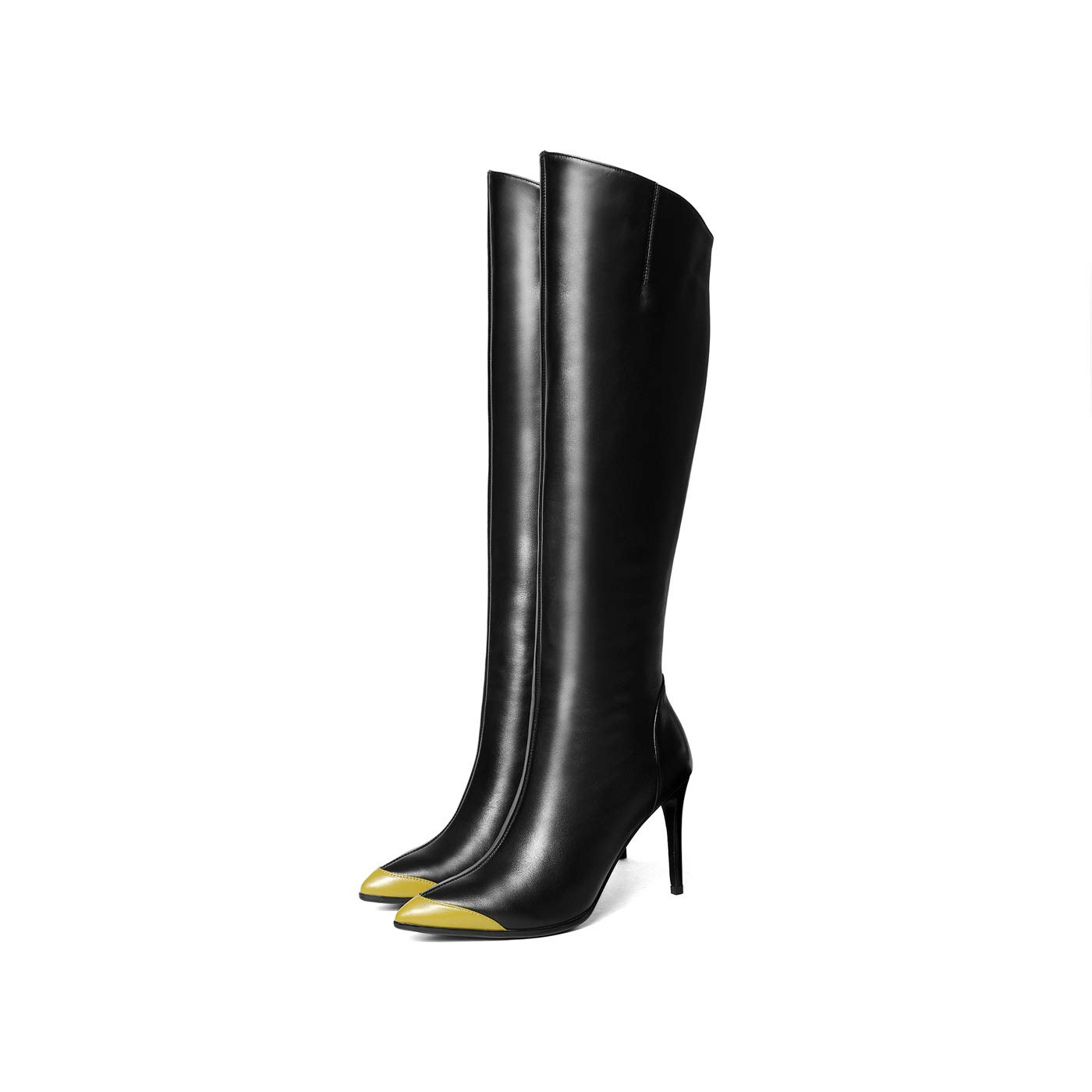 DANDANJIE damen Kniestiefel Stiletto Heel ethnischen Vintage hohe Stiefel mit Reißverschluss im Freien für Herbst & Winter