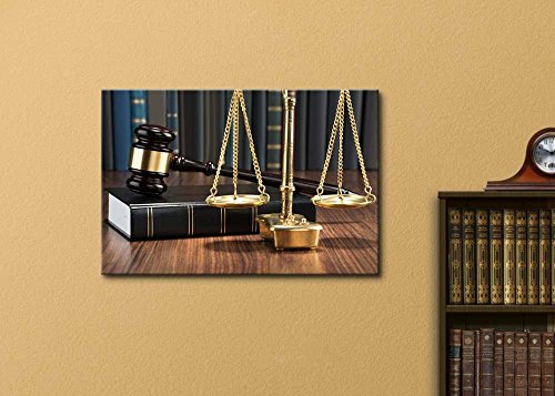 Wooden Gavel on Book with Golden Scale on Table Justice Concept Wall Decor Lawyer's Office