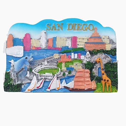 San Diego California USA 3D Fridge Magnet, Home & Kitchen Decoration Sticker San Diego USA Travel Souvenir Gift Refrigerator Magnet,