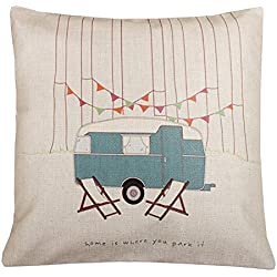 "Onker Cotton Linen Square Decorative Throw Pillow Case Cushion Cover 18"" x 18"" RV Vintage Happy Campers Home Is Where You Park It"
